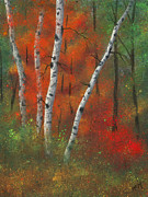 Autumn Trees Pastels Prints - Birches II Print by Garry McMichael