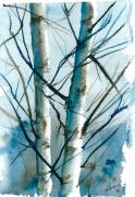 Jan Anderson Watercolors - Birches in winter sun by Jan Anderson