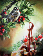 Green And Red Colored Paintings - Bird and berries by Gina Femrite