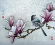 Oriental Style Paintings - Bird and  Magnolia  by Leaf Moore