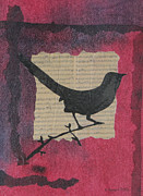Karenpappert Framed Prints - Bird and Music Mixed Media Art Collage Framed Print by Karen Pappert