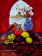 Food And Beverage Tapestries - Textiles Posters - Bird And Stil Life Poster by Marilene Sawaf