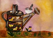 Annamarie Sidella-felts Framed Prints - Bird and Watering Can Framed Print by Annamarie Sidella-Felts