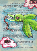 Demon Mixed Media Framed Prints - Bird and Worm Framed Print by Jera Sky