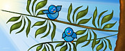 Folk Art Digital Art Posters - Bird Branch Poster by Melisa Meyers