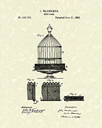 1882 Framed Prints - Bird Cage 1882 Patent Art Framed Print by Prior Art Design