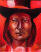 American Contemporary Western Painting Originals - Bird Chief  by Robert Martinez