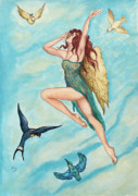 Fairies Drawings Posters - Bird Dancer Poster by Jane Indigo Moore