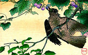 Tendrils Posters - Bird Eating Grapes 1900 Poster by Padre Art