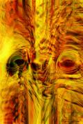 Trippy Digital Art - Bird Face by Linda Sannuti