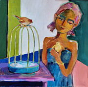 Cage Paintings - Bird Girl by Diane Ursin