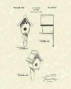 Bird Art Drawings Prints - Bird House 1950 Patent Art  Print by Prior Art Design