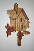 Intarsia Sculpture Framed Prints - Bird House Framed Print by Bill Fugerer