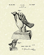 Bird Art Drawings Prints - Bird in the Hand Coin Bank 1943 Patent Art Print by Prior Art Design