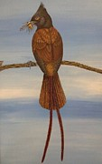 Flycatcher Painting Originals - Bird by Mohamed Ibrahim
