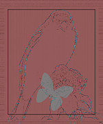 Bird On Tree Prints - Bird Of A Flower Design Print by Debra     Vatalaro