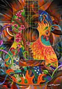 Acoustic Guitar Drawings - Bird of Fire Guitar by Julie Oakes