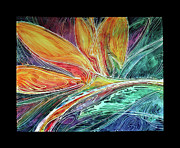 Marcia Baldwin Framed Prints - BIRD of PARADISE ABSTRACT BATIK Framed Print by Marcia Baldwin