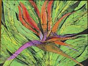 Flower Tapestries - Textiles Originals - Bird of Paradise III Fine Art Batik by Kay Shaffer