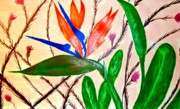 Glass Flowers And Leaves Prints - Bird of Paradise Print by J Perez