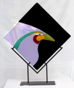Dichroic Art Glass Glass Art Originals - Bird of Paradise by Sandy Feder