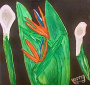 Calla Lilly Mixed Media Posters - Bird of Paradise  with Calla Lilly  Poster by Michael Knight