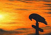 Spiritual Art Drawings Prints - Bird of Pray Print by Don McMahon