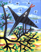 Bird On Tree Painting Prints - Bird On A Tree After Picasso Print by Alexandra Jordankova