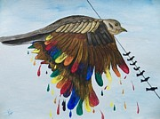 Judy Via-wolff Art - Bird on a Wire Flys Free by Judy Via-Wolff