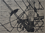 Linoleum Block Print Drawings Posters - Bird on a Wire Poster by William Cauthern