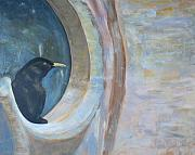 Prague Painting Framed Prints - Bird on church window Framed Print by Ioannis Macheriotis