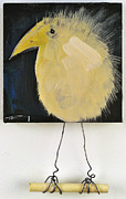 Yellow Paintings - Bird On Perch by Tim Nyberg