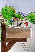 Sketchbook Painting Prints - Bird on the Mailbox Sketchbook Project Down My Street Print by Irina Sztukowski