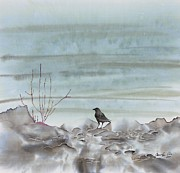 Black  Tapestries - Textiles Prints - Bird on the Shore Print by Carolyn Doe