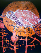 Mystical Tapestries - Textiles Prints - Bird on Thistle at Sundown Print by Carol Law Conklin