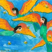 Sue Burgess Prints - Bird people Bee Eaters for Artweeks Print by Sushila Burgess