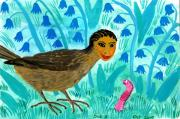 Sue Burgess Paintings - Bird people Blackbird and worm by Sushila Burgess