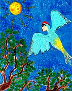 Bird People Green Woodpecker Print by Sushila Burgess