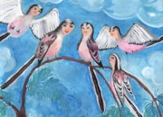 Sue Burgess Paintings - Bird People Long Tailed Tits by Sushila Burgess