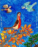 Sky Ceramics Metal Prints - Bird people Robin Metal Print by Sushila Burgess