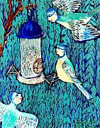 Sue Burgess Ceramics Posters - Bird people The bluetit family Poster by Sushila Burgess