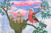Pink Ceramics Prints - Bird people The Chaffinch Family Print by Sushila Burgess