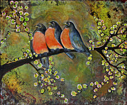 Branch Painting Posters - Bird Print Portrait Robin Family Poster by Blenda Tyvoll
