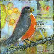 Mixed-media Paintings - Bird Print Robin Art by Blenda Studio