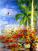 Puerto Rico Painting Posters - Bird protected by her mother Poster by Estela Robles