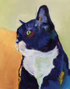 Felines Painting Prints - Bird Watcher Print by Pat Saunders-White