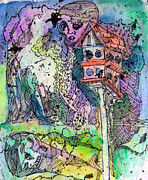 Fantasy Landscape Mixed Media - Bird Watchers by Mindy Newman