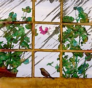Plants. Tapestries - Textiles Prints - Bird with a view Print by Carolyn Doe