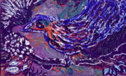 Perched Mixed Media Posters - Bird with Wavy Feathers Poster by Anne-Elizabeth Whiteway