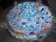 Mosaic Tesserae Tiles Glass Art - Birdbath Bowl by Elizabeth Okon